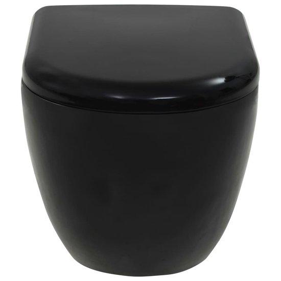 vidaXL Wandtoilet keramiek zwart