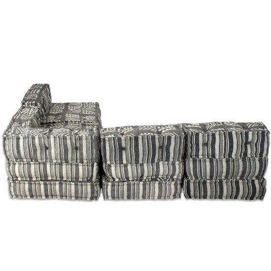 vidaXL Bankstel modulair stof gestreept 16-delig