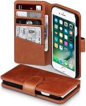 Hoesje geschikt voor Apple iPhone SE (2020), iPhone 8 en iPhone 7, MobyDefend Luxe echt lederen 3-in-1 bookcase, Cognac bruin