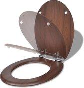 vidaXL Toiletbril soft-close simpel ontwerp MDF bruin