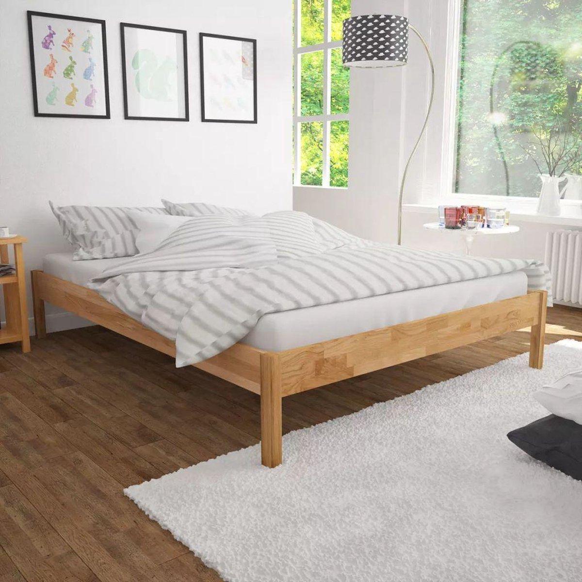 vidaXL Bedframe massief eikenhout 180x200 cm - vidaXL