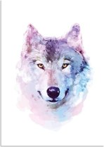 Poster Wolf Waterverf stijl DesignClaud - A3 poster