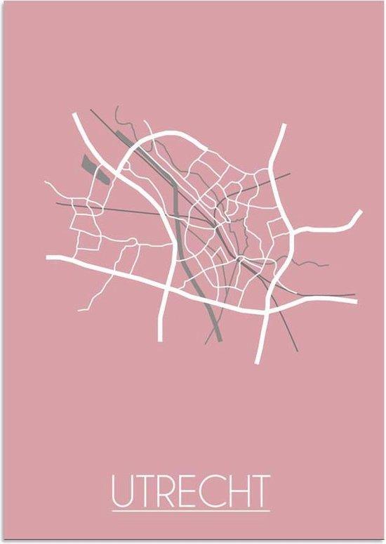Plattegrond Utrecht Stadskaart poster DesignClaud - Roze - A2 + fotolijst wit