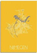 DesignClaud Nijmegen Plattegrond poster Geel A4 + Fotolijst zwart (21x29,7cm)