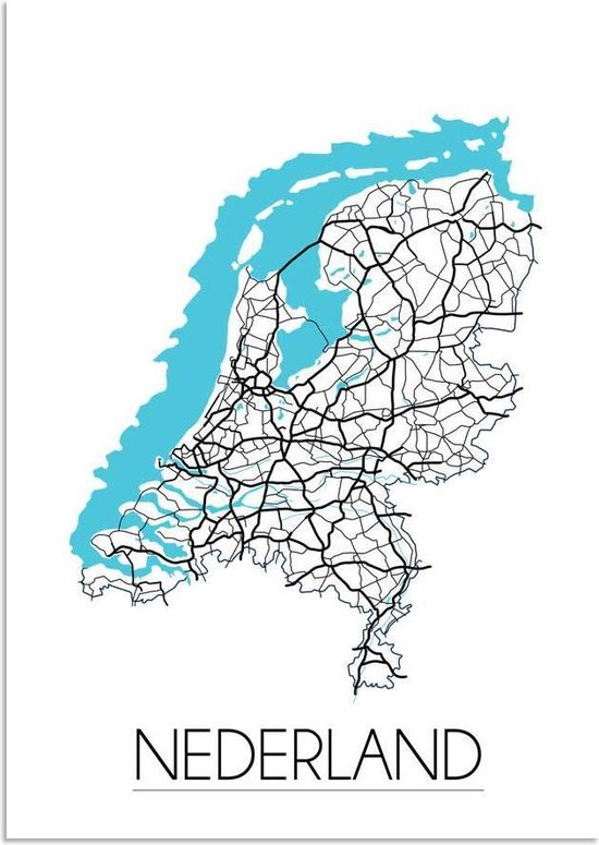 Plattegrond Nederland Landkaart Poster DesignClaud - Wit - A3 poster