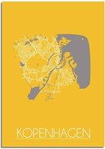 Plattegrond Kopenhagen Stadskaart poster DesignClaud - Geel - A2 + fotolijst zwart