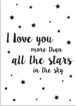 Kinderkamer poster I love you more than all the stars in the sky DesignClaud - Zwart wit - A3 poster
