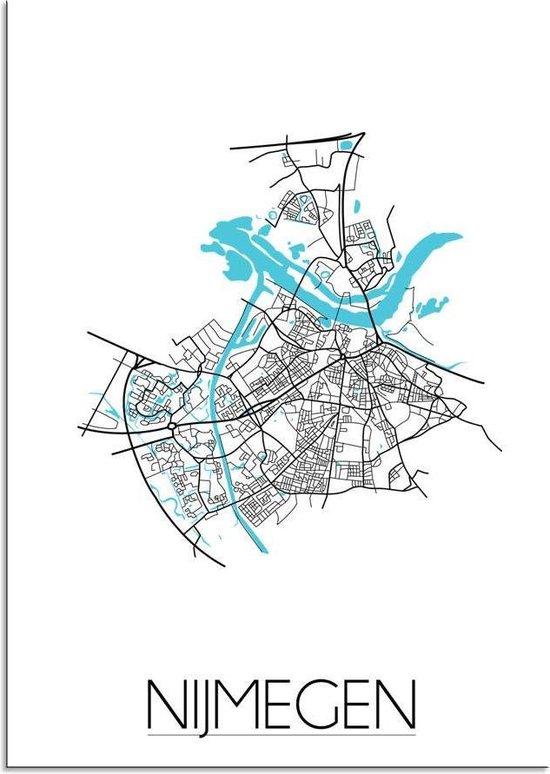 Plattegrond Nijmegen Stadskaart poster DesignClaud - Wit - A4 poster