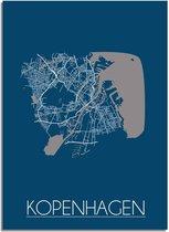 DesignClaud Kopenhagen Plattegrond poster Blauw A3 + Fotolijst zwart