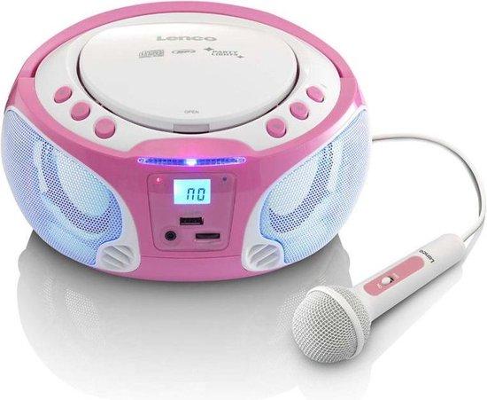 Lenco SCD-650 - Radio CD-speler Incl. karaokemicrofoon en LED - Roze