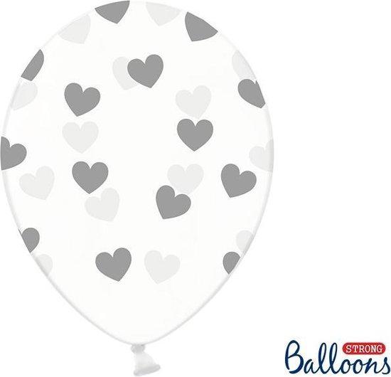 Partydeco 6 Ballonnen in zak hartjes crystal - Zilver 30cm