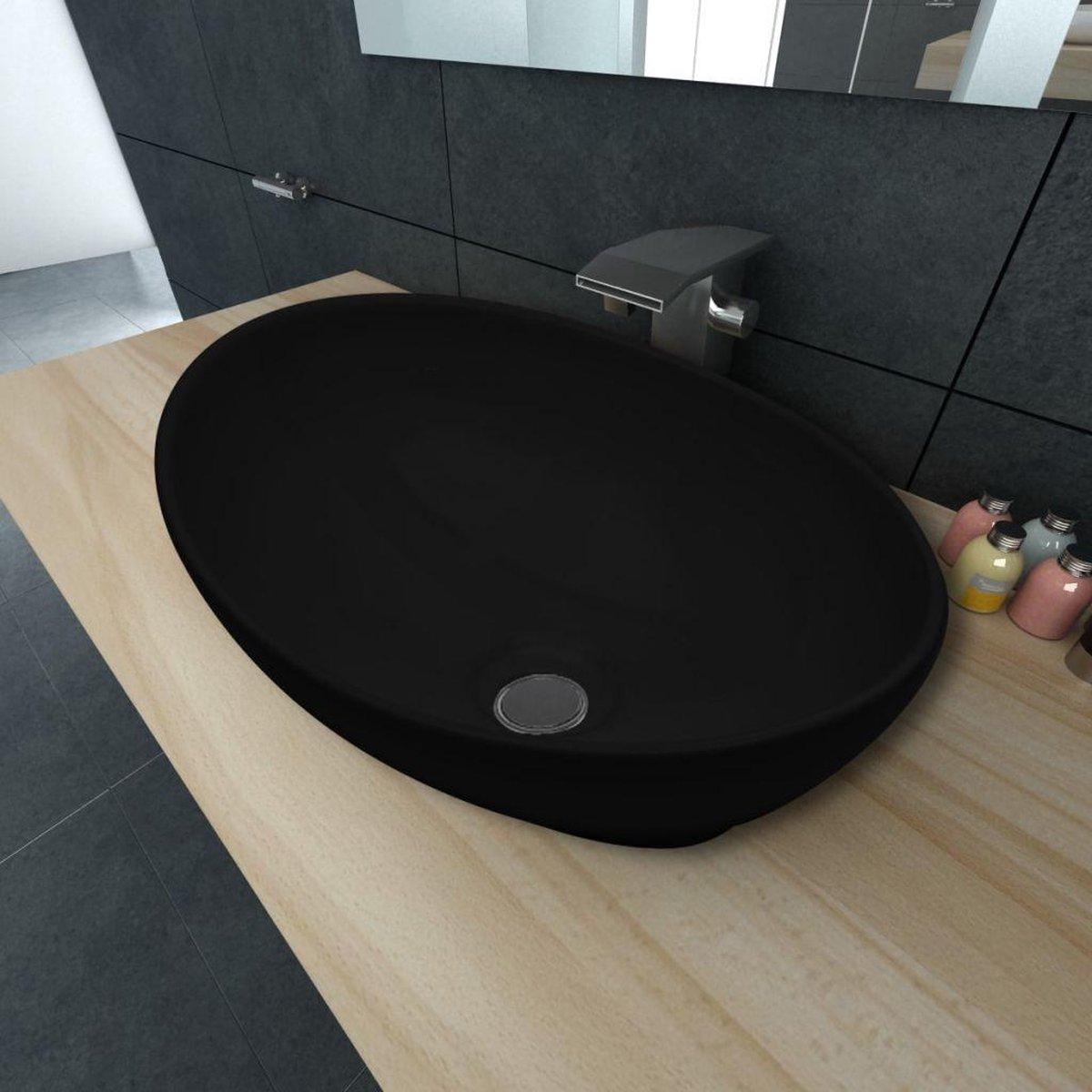Luxe keramische wasbak ovaal 40 x 33 cm (zwart)