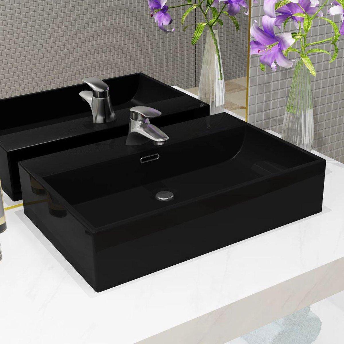 vidaXL Wastafel met kraangat 76x42,5x14,5 cm keramiek zwart