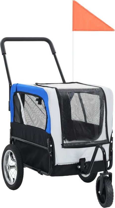 vidaXL Huisdieren fietskar 2-in-1 aanhanger & loopwagen grijs en blauw