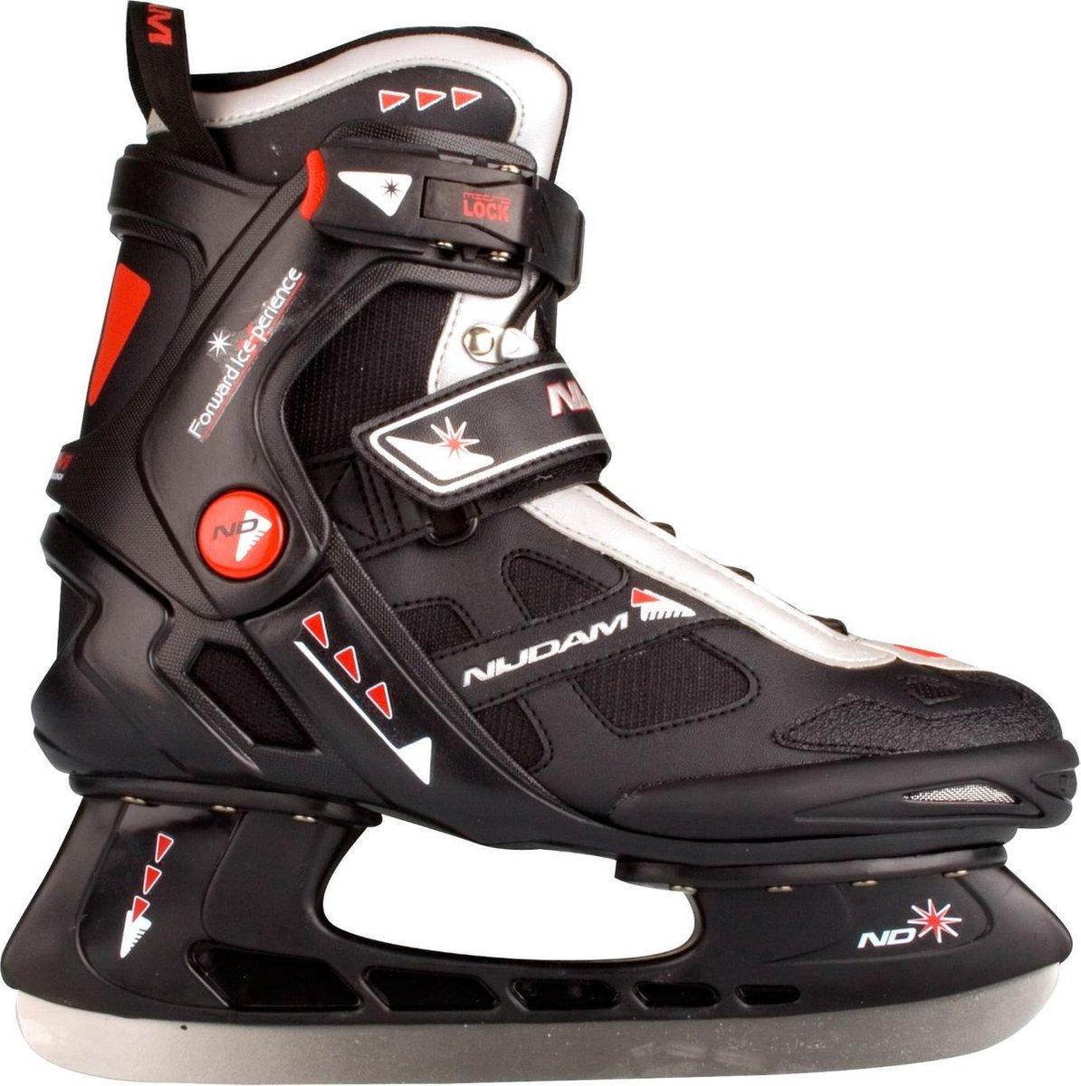 Nijdam IJshockeyschaats - Semi-Softboot - Zwart/Zilver/Rood - 42