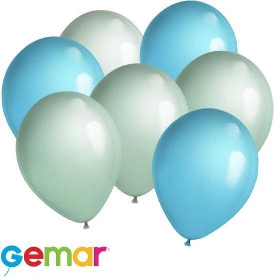 30 ballonnen Mintgroen en Licht blauw (Ook geschikt voor Helium)