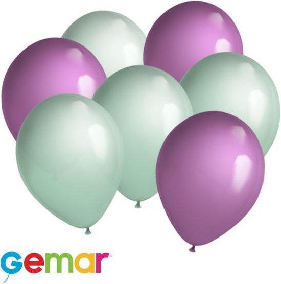 30 ballonnen Mintgroen en Lavender (Ook geschikt voor Helium)