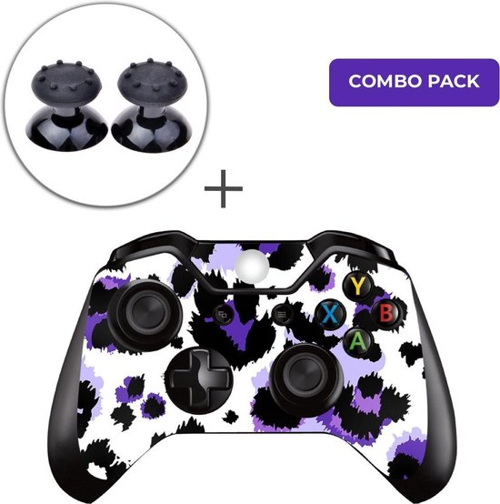 Luipaard Print Paars Combo Pack – Xbox One Controller Skins Stickers + Thumb Grips