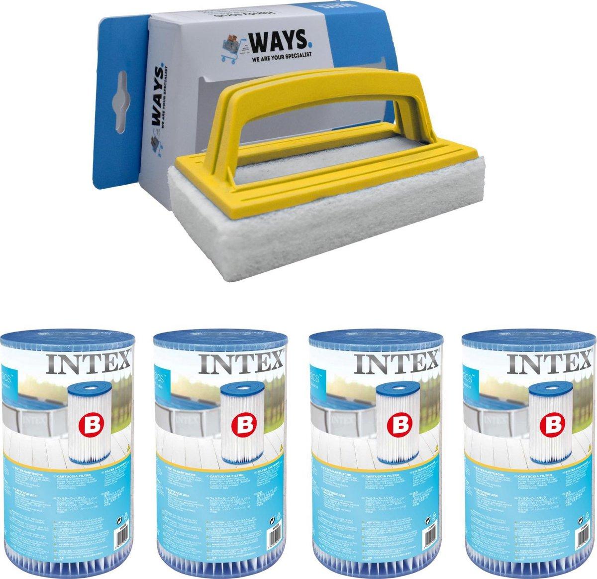 Intex - Filter type B - 4 stuks - Geschikt voor filterpomp 28634GS & WAYS scrubborstel
