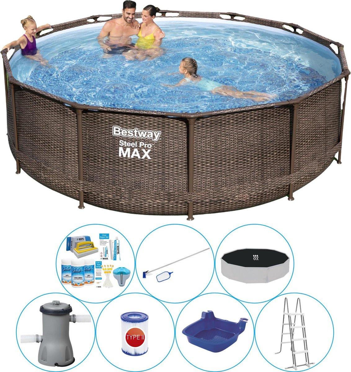 Zwembad Comfort Pakket - Bestway Steel Pro MAX Rattan 366x100 cm