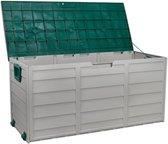 Teien verrijdbare opslagbox tuin 245 liter - tuinbox / opslagbox / tuinkast / tuinkussenbox - 112x54x50 cm - groen en wit