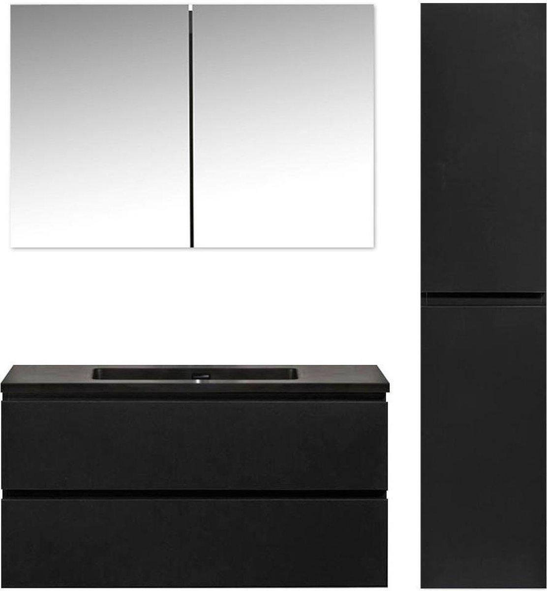 Diamond line - Callisto - Badkamer Set - Mat Zwart MDF - Hangend - 100x50x48 cm - Softclose - Met Spiegelkast en Badkamerkast