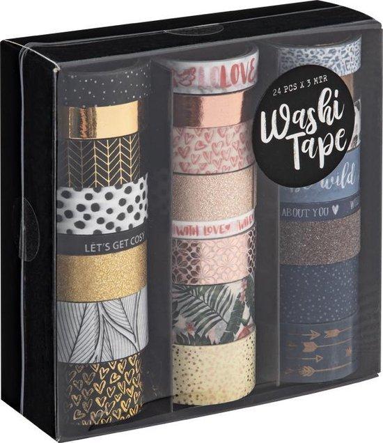 Afbeelding van Washi Tape 24 rolletjes van 3 meter - Craft Sensations - 24 verschillende designs - Bullet journal | Decoratietape speelgoed