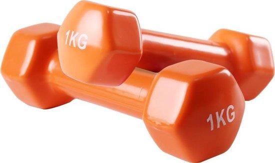 Foxfit Dumbbell set - 2 x 1kg - Rubber - Oranje