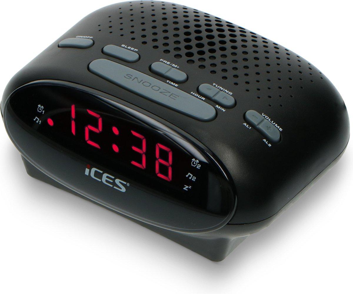 Ices ICR-210 Black - Wekkerradio - Radio - Sleeptimer - FM-tuner