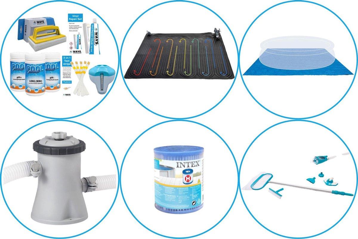 Zwembad Accessoirepakket 5-delig - WAYS Onderhoudspakket & Zwembad verwarming & Filterpomp (28602GS) + Filter & Onderhoudsset Deluxe & Grondzeil