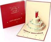 Verjaardagskaarten met envelop - Wenskaarten verjaardag - Rood - Happy Birthday - 3D pop up kaarten taart - kinderen - cadeau - verjaardagskaart