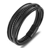 Stoere Heren Armband - Zwart Leer met Zwarte Sluiting - Armband Heren - Armband Mannen - Mannen Cadeautjes - Cadeau voor Mannen