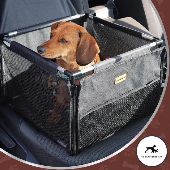 De Blaffende Kat Vernieuwde Autostoel hond - Inclusief gratis E-Book - Opvouwbare Hondenmand auto - Autobench voor hond - Hondenstoel auto - Zwart - Geschikt voor kleine en middelgrote honden