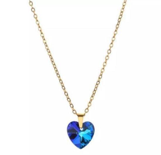 Ketting Meisje- Diamant- Hart- Blauw- Goud- Kind- LiLaLove