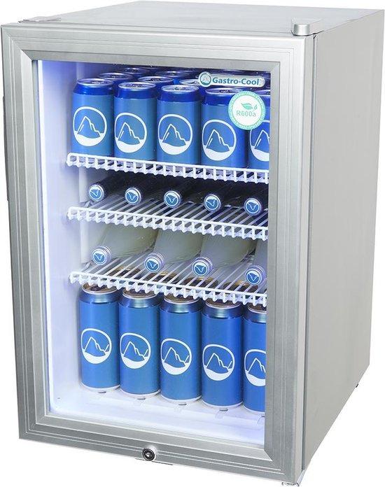 Koelkast: Gastro-Cool KW65 - Mini koelkast met glazen deur 62 Liter - Zilver/Zilver/Wit 204401, van het merk Gastro-Cool