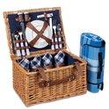 LifeGoods 29-Delige Picknickmand - Set voor 4 Personen - Volledig Servies - Incl. Waterdicht Gewatteerd Picknickkleed - Rieten Mand / PU-leer