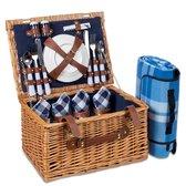 LifeGoods 29-Delige Picknickmand - Set voor 4 Personen - Volledig Servies - Incl. Waterdicht Gewatteerd Picknickkleed - Rieten Mand / PU-leer - Bruin