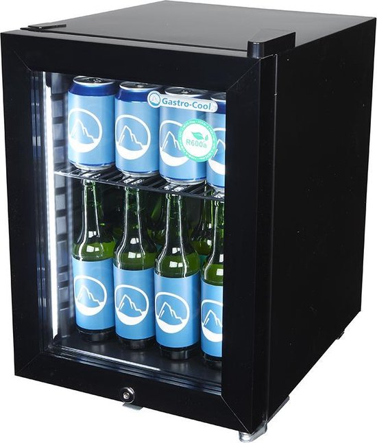 Koelkast: Gastro-Cool KW25 - Mini koelkast met glazen deur 23 Liter - Zwart/Zwart/Zwart 247101, van het merk Gastro-Cool