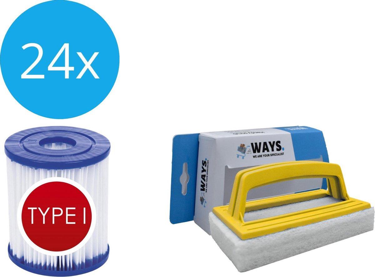 Bestway - Type I filters geschikt voor filterpomp 58381 - 24 stuks & WAYS scrubborstel