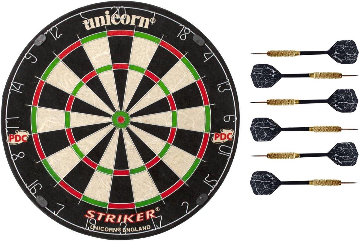 Dartbord met 3 Dartpijlen en gratis ophangsysteem | Unicorn professional darts | Striker | Dartstandaard niet nodig