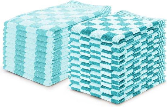 Theedoeken en Keukendoeken set Turquoise - Set van 20 - Geblokt - Blokdoeken - 100% katoen - 10 Theedoeken 65x65 - 10 keukendoeken 50x50