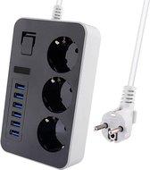Premium Stekkerdoos | Contactdoos met 6 USB poorten | Verdeeldoos | 1.60m Verlengsnoer voor naar het Stopcontact| Aan/Uitschakelaar | Geschikt voor Apple / Samsung / LG / Huawei / HTC | Zwart