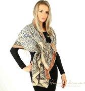 Batik Blauwe Sjaal | Katoen-Dames-Heren-Handgeprint-Pareo-Zomer-Omslagdoek-Blauw-180*110 cm-Otracosa
