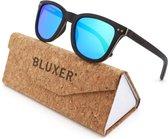 Bluxer® Zonnebril voor Heren en Dames Polaroid - Hippe Houten Zonnebril Gepolariseerd - UV400 Lens - Ebony Wood - Blauwe Lens