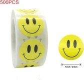 500 Stickers Smiley Op Een Rol - 2,5cm - Stickers Smiley - Label Smiley - Beloningsstickers - Stickers Kinderen