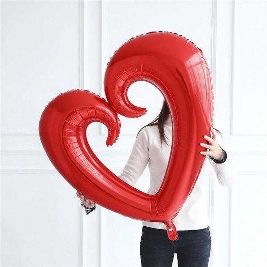 Hart Ballon - XL JUMBO Groot - 101 cm - Rood - Folieballon - Ballonen Verjaardag - Romantische Versiering - Valentijn - Huwelijk - Verloving - Bruiloft - Jubileum