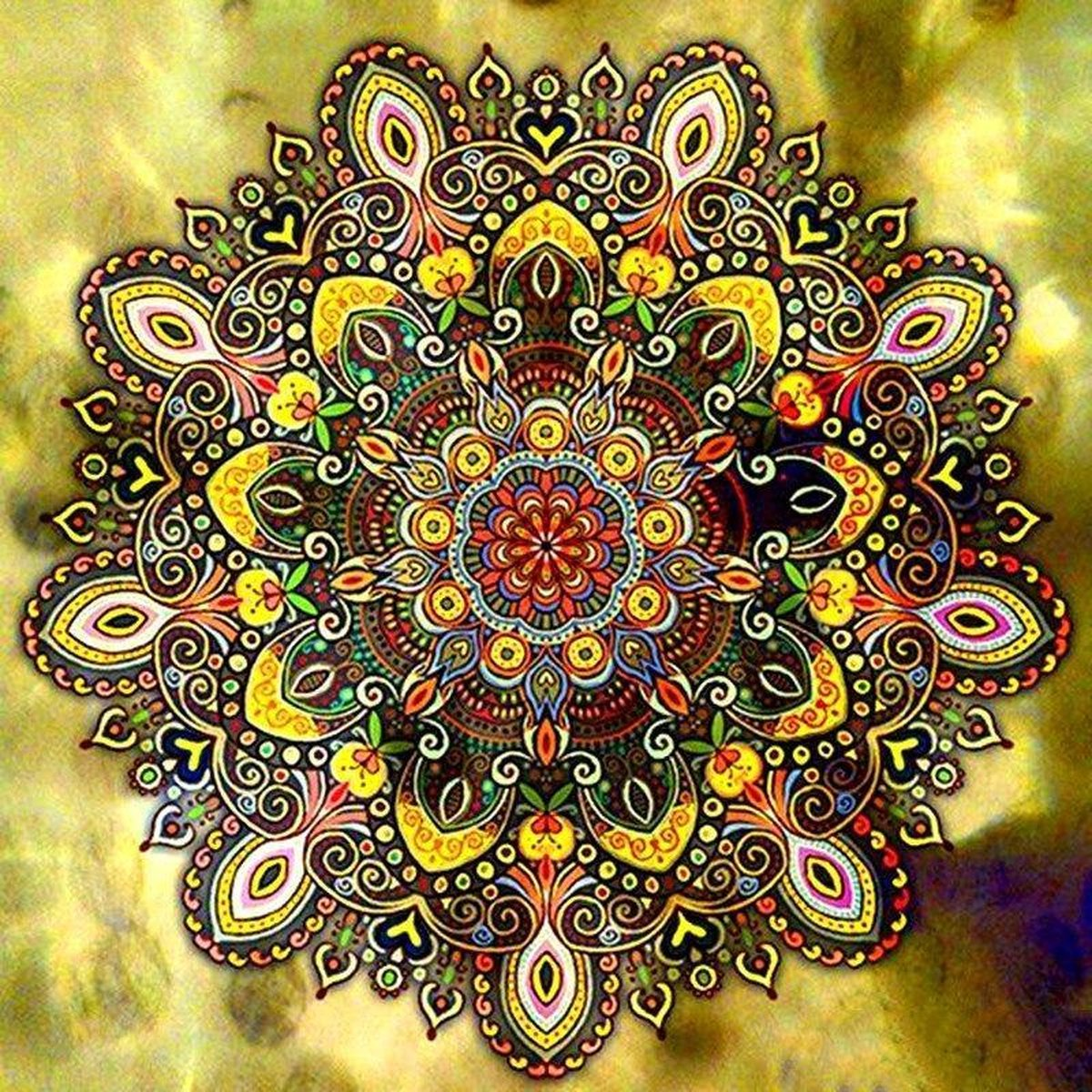 Premium Paintings - Gouden Mandala - Diamond Painting Volwassenen - Pakket Volledig / Pakket Full - 40x40 - Moederdag cadeautje
