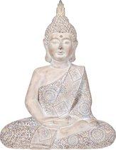 Boeddha beeld - Tuinbeeld Boeddha beeld Antiek Zilver 18x27x38 cm