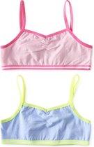 Little Label   meisjes bralette - 2 stuks   roze, blauw   maat 158-164   zachte bio-katoen