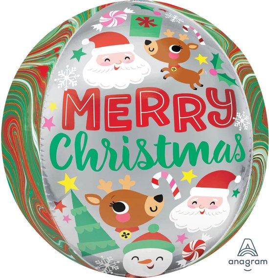 Orbz Folieballon Adorable Christmas Buddies 38 X 40 Cm Groen